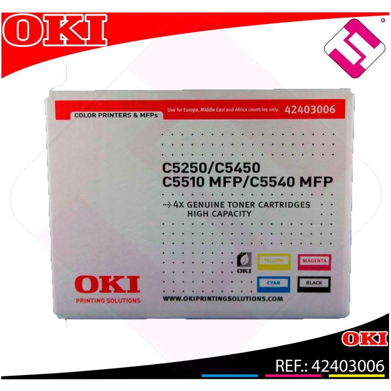 OKI TONER LASER RAINBOW PACK 5.000 PAGINAS C/5250/5450/5510M