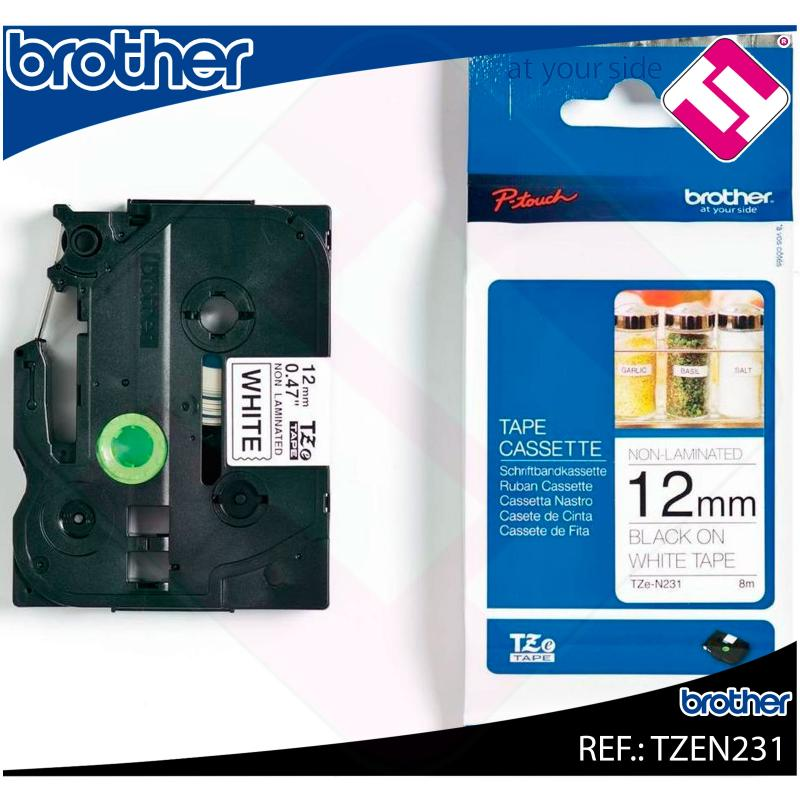 BROTHER CINTA ROTULADORA NO LAMINADA NEGRO/BLANCO 8M 12MM TZ
