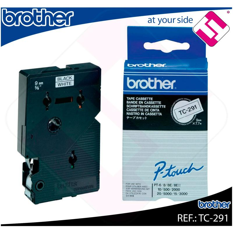 BROTHER CINTA ROTULADORA LAMINADA BLANCO/NEGRO 7.7M 9MM P-TO