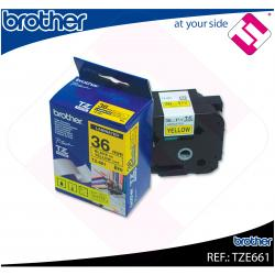 BROTHER CINTA ROTULADORA LAMINADA AMARILLA/NEGRA 8M 36MM