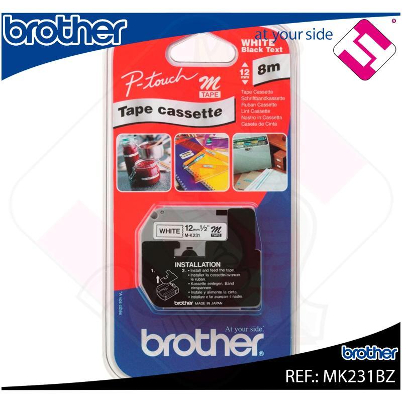 BROTHER CINTA ROTULADORA NO LAMINADA NEGRO/BLANCO 8M 12MM/PT