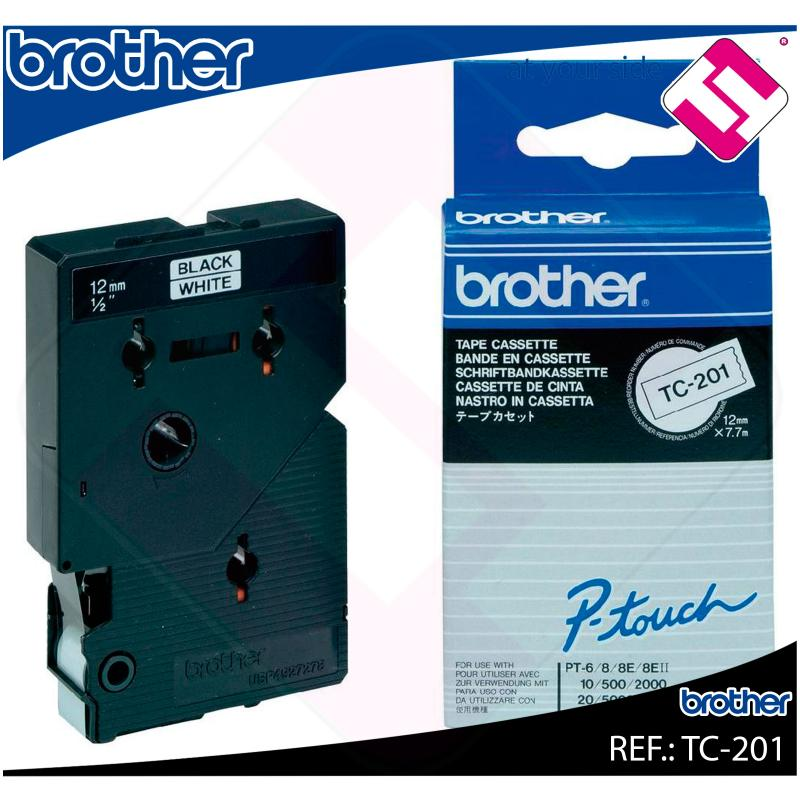 BROTHER CINTA ROTULADORA LAMINADA BLANCO/NEGRO 7.7M 12MM P-T