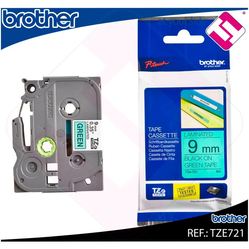 BROTHER CINTA ROTULADORA LAMINADA VERDE/NEGRO 8M 9MM