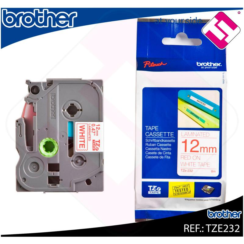 BROTHER CINTA ROTULADORA LAMINADA ROJO/BLANCO 8M 12MM