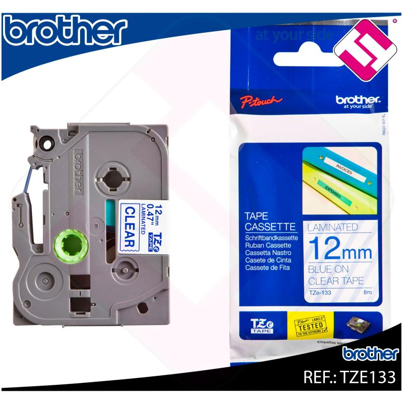 BROTHER CINTA ROTULADORA LAMINADA TRANSPARENTE/AZUL 8M 12MM
