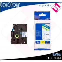 BROTHER CINTA ROTULADORA LAMINADA AZUL/BLANCO 8M 36MM