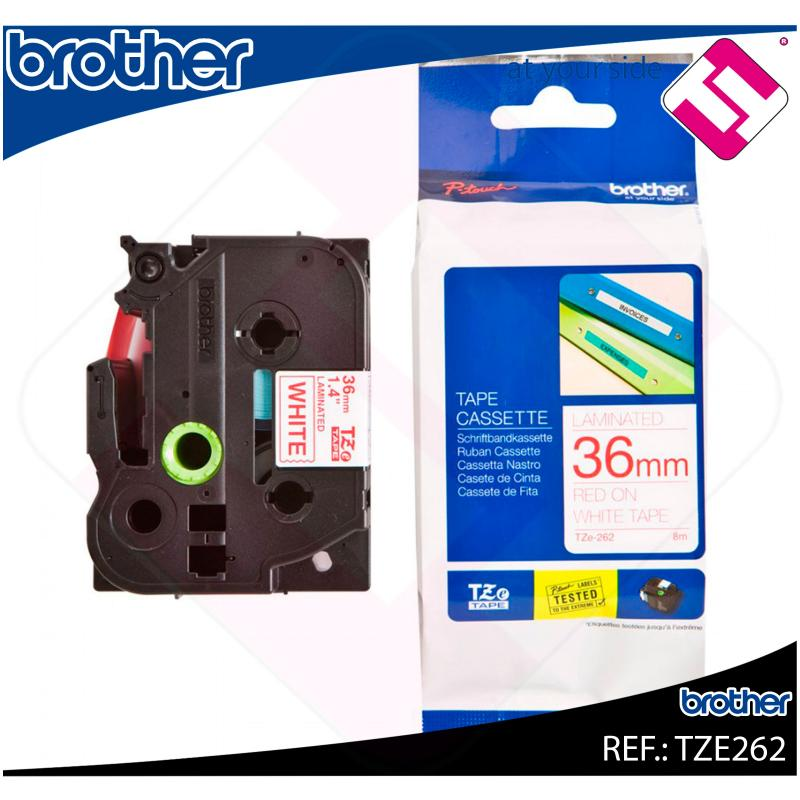 BROTHER CINTA ROTULADORA LAMINADA ROJO/BLANCO 8M 36MM