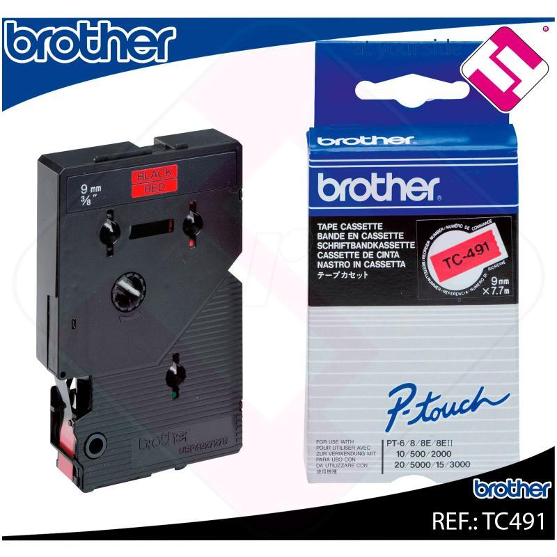 BROTHER CINTA ROTULADORA LAMINADA ROJO/NEGRO 7.7M 9MM P-TOUC
