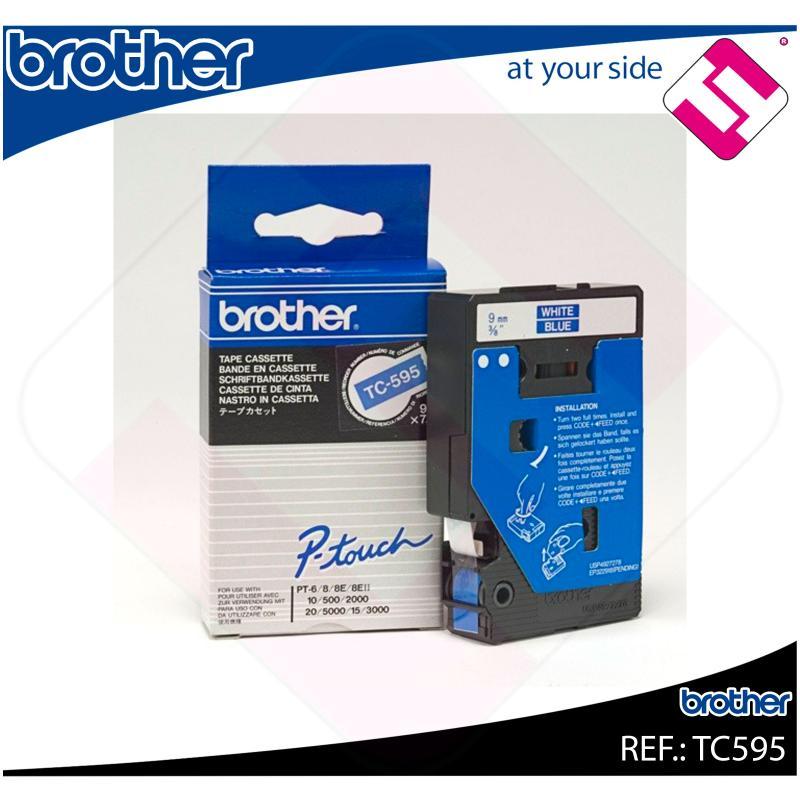 BROTHER CINTA ROTULADORA LAMINADA AZUL/BLANCO 7.7M 9MM/P-TOU
