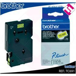 BROTHER CINTA ROTULADORA LAMINADA AMARILLA/NEGRA 7.7M 9MM P-