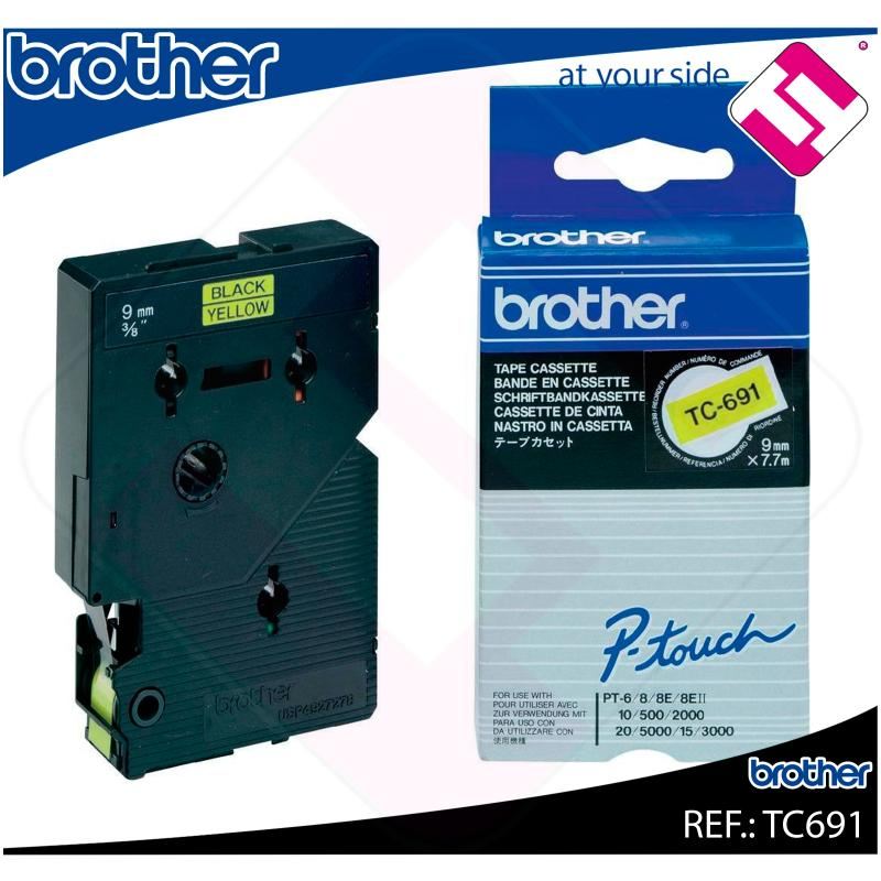 BROTHER CINTA ROTULADORA LAMINADA AMARILLA/NEGRA 7.7M 9MM P-