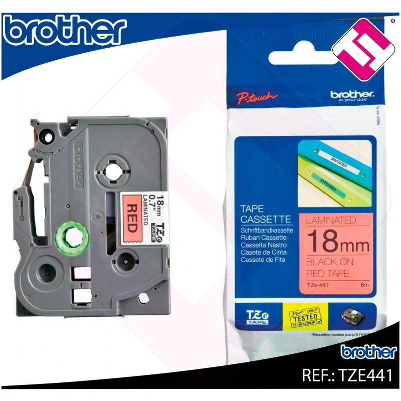 BROTHER CINTA ROTULADORA LAMINADA NEGRO/ROJO 8M 18MM
