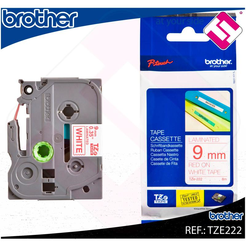 BROTHER CINTA ROTULADORA LAMINADA ROJO/BLANCO 8M 9MM