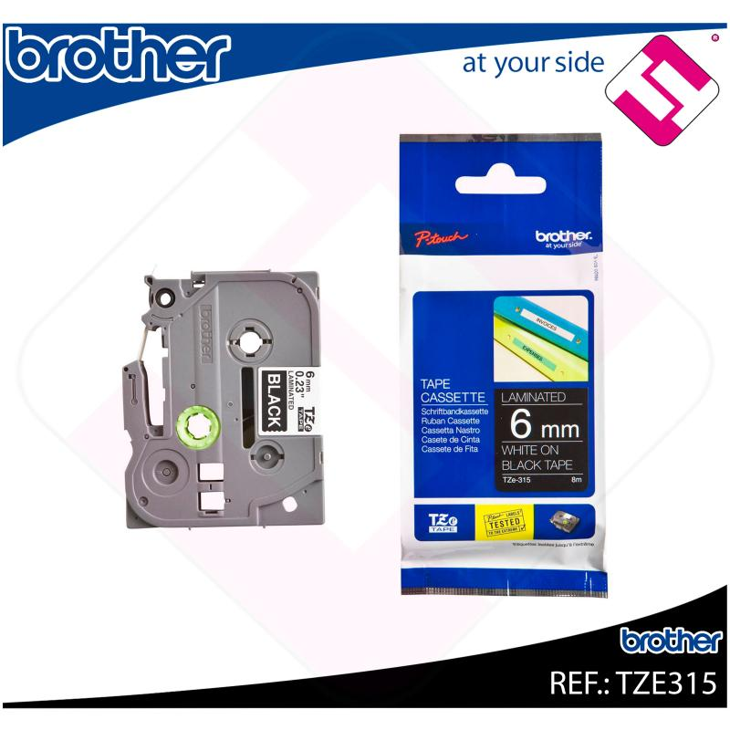 BROTHER CINTA ROTULADORA LAMINADA NEGRO/BLANCO 8M 6MM