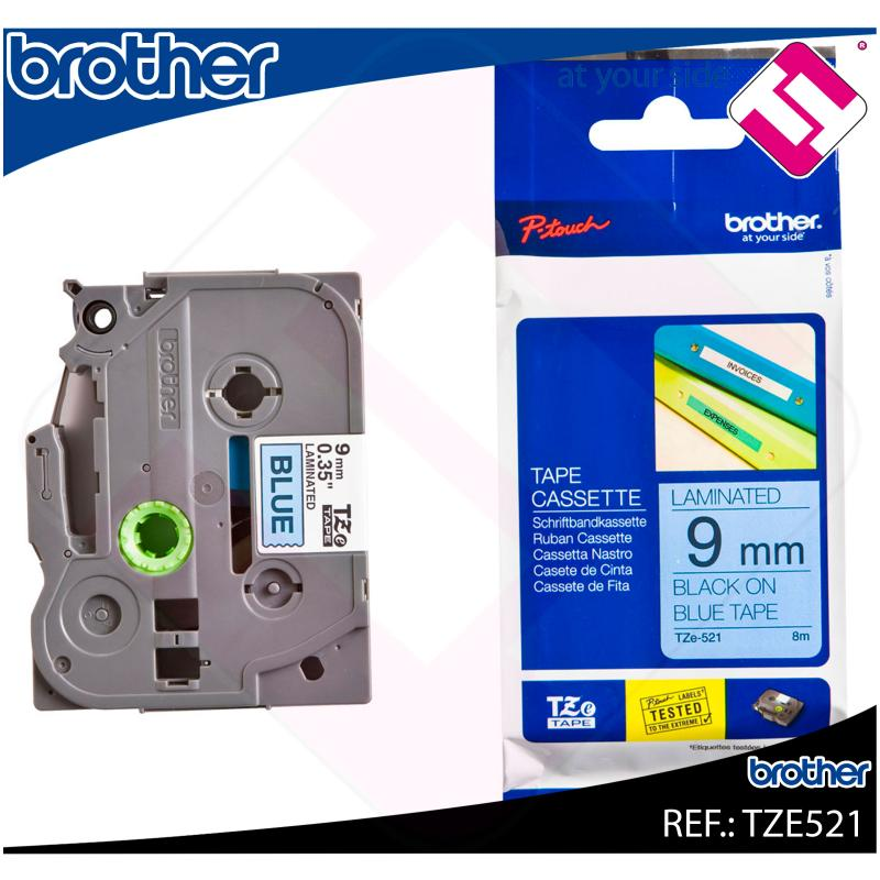 BROTHER CINTA ROTULADORA LAMINADA AZUL/NEGRO 8M 9MM