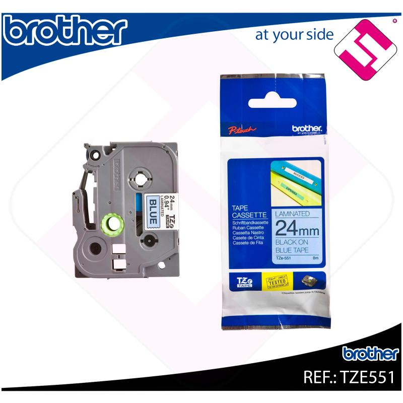 BROTHER CINTA ROTULADORA LAMINADA AZUL/NEGRO 8M 24MM