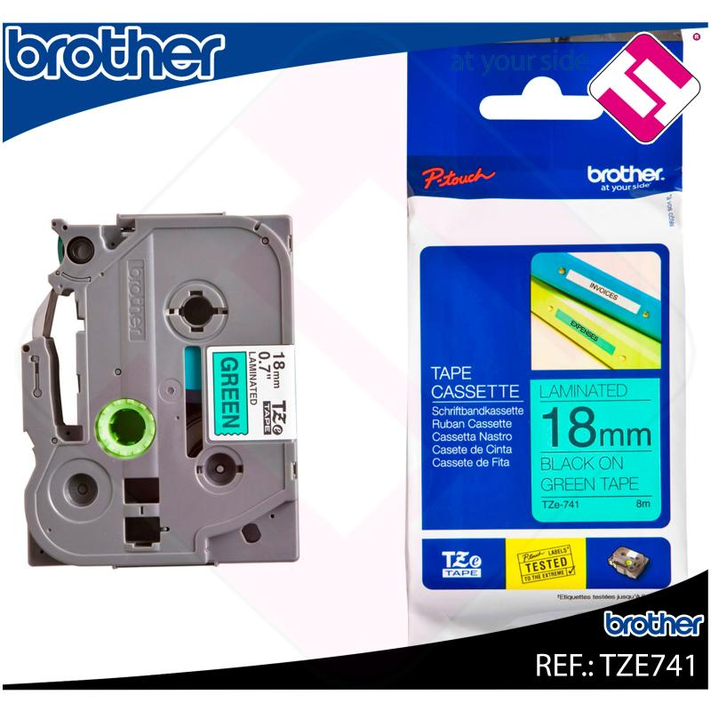 BROTHER CINTA ROTULADORA LAMINADA VERDE/NEGRO 8M 18MM