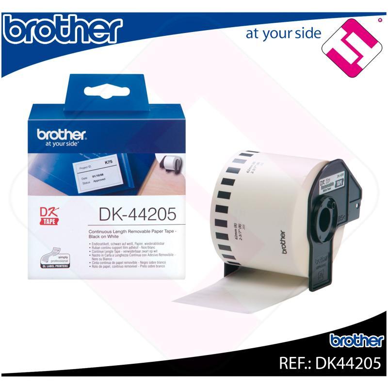 BROTHER CINTA CONTINUA BLANCA PAPEL REMOVIBLE 62MM 30.48M/QL