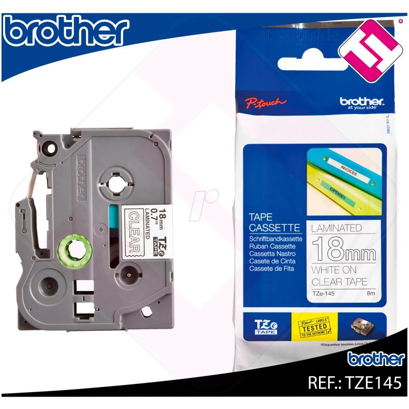 BROTHER CINTA ROTULADORA LAMINADA TRANSPARENTE/BLANCO 8M 18M