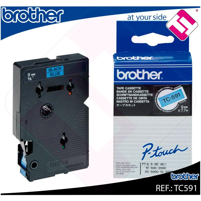 BROTHER CINTA ROTULADORA LAMINADA AZUL/NEGRO 7.7M 9MM/PT500/