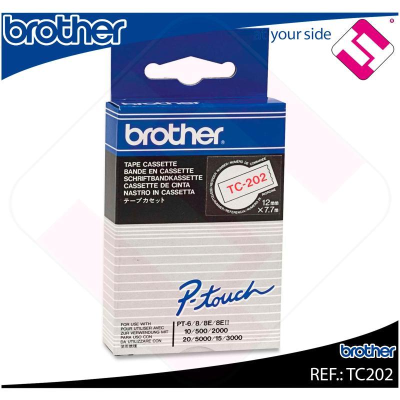 BROTHER CINTA ROTULADORA LAMINADA BLANCO/ROJO 7.7M 12MM