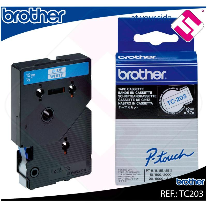 BROTHER CINTA ROTULADORA LAMINADA BLANCO/AZUL 7.7M 12MM