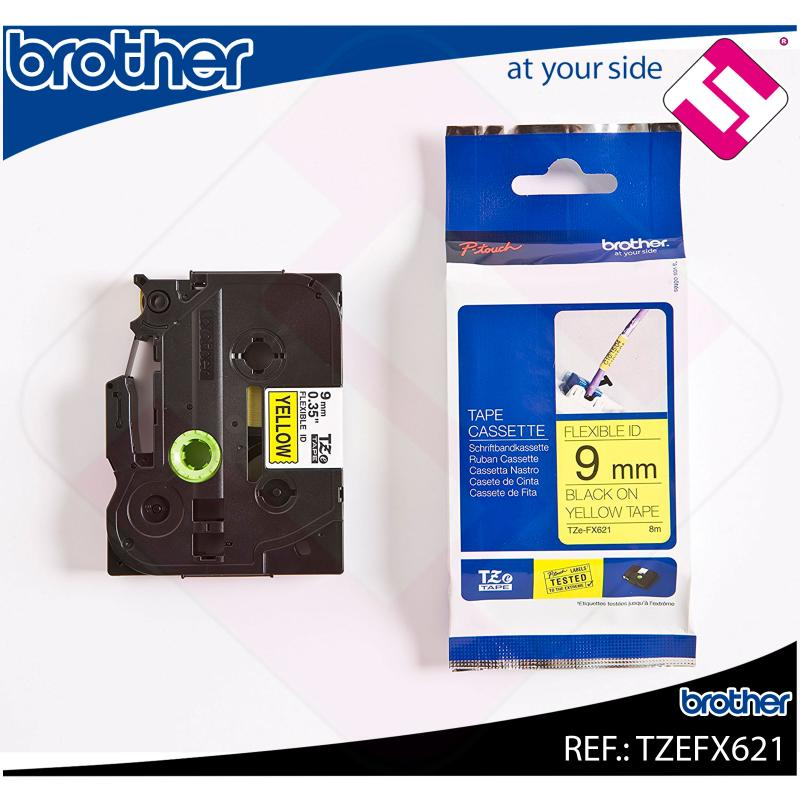 BROTHER CINTA ROTULADORA LAMINADA AMARILLA/NEGRA 8M 9MM