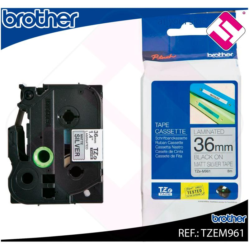 BROTHER CINTA ROTULADORA LAMINADA PLATA/NEGRO 8M 36MM