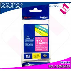 BROTHER CINTA ROTULADORA LAMINADA ROSA MATE/BLANCO 5M 12MM P