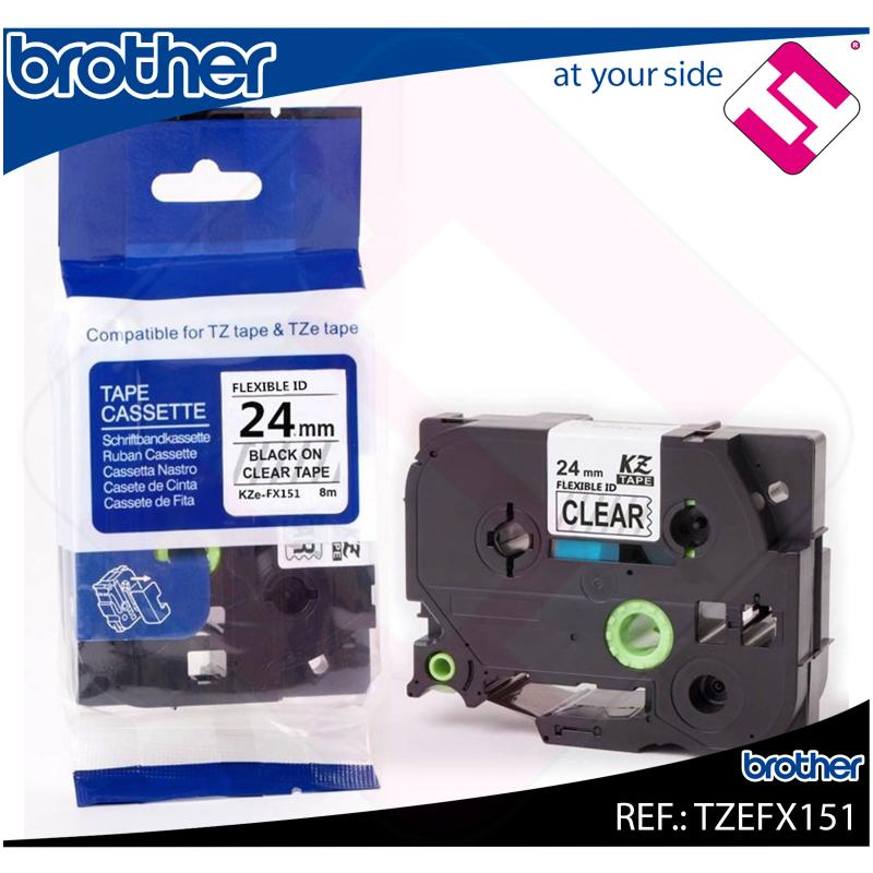BROTHER CINTA ROTULADORA LAMINADA FLEXIBLE TRANSPARENTE/NEGR