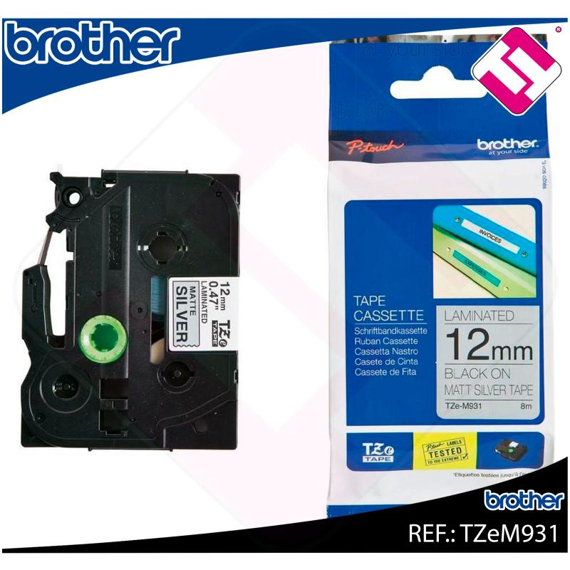 BROTHER CINTA ROTULADORA LAMINADA PLATA/NEGRO 8M 12MM