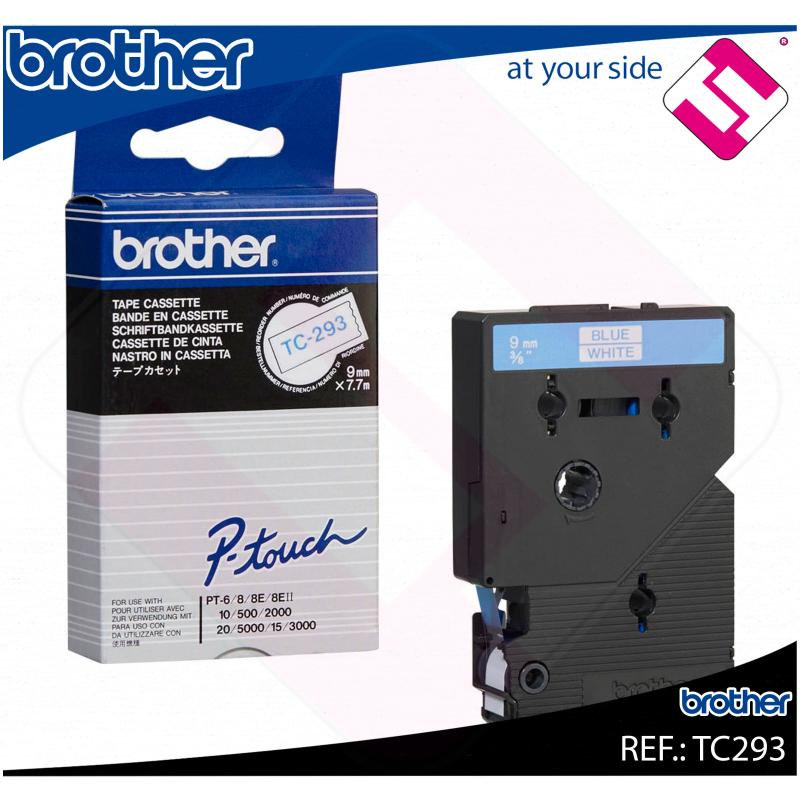 BROTHER CINTA ROTULADORA LAMINADA BLANCO/AZUL 7.7M 9MM P-TOU