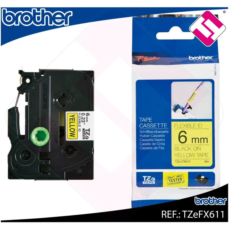 BROTHER CINTA ROTULADORA LAMINADA AMARILLA/NEGRA 8M 6MM PT/1
