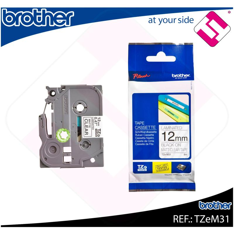 BROTHER CINTA ROTULADORA LAMINADA TRANSPARENTE MATE/NEGRO 8M