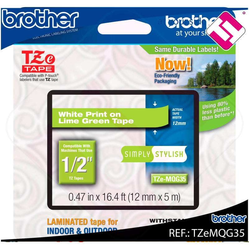 BROTHER CINTA ROTULADORA LAMINADA VERDE LIMA/BLANCO MATE 5M