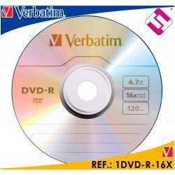 DVD VERBATIM 1 UNIDAD DVD-R VELOCIDAD 16X 4.7 GB DURACION 120 MINUTOS 43538