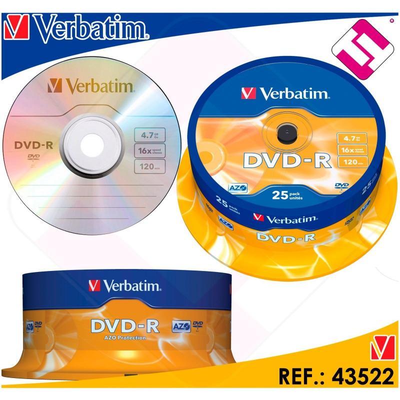 VERBATIM DVD-R 4,7 GB 16 X TARRINA 25 UNIDADES BOBINA 43522 PRECIO LIQUIDACION