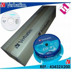 200 CD VERBATIM CD-R VELOCIDAD 52X 700MB MEGAS DURACION 80 MINUTOS 43432 LOTE