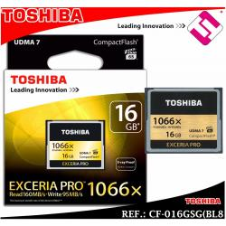 TARJETA TOSHIBA COMPACT FLASH EXCERIA PRO 16GB 1066X CF-016GSG(BL8 X RAY PROOF