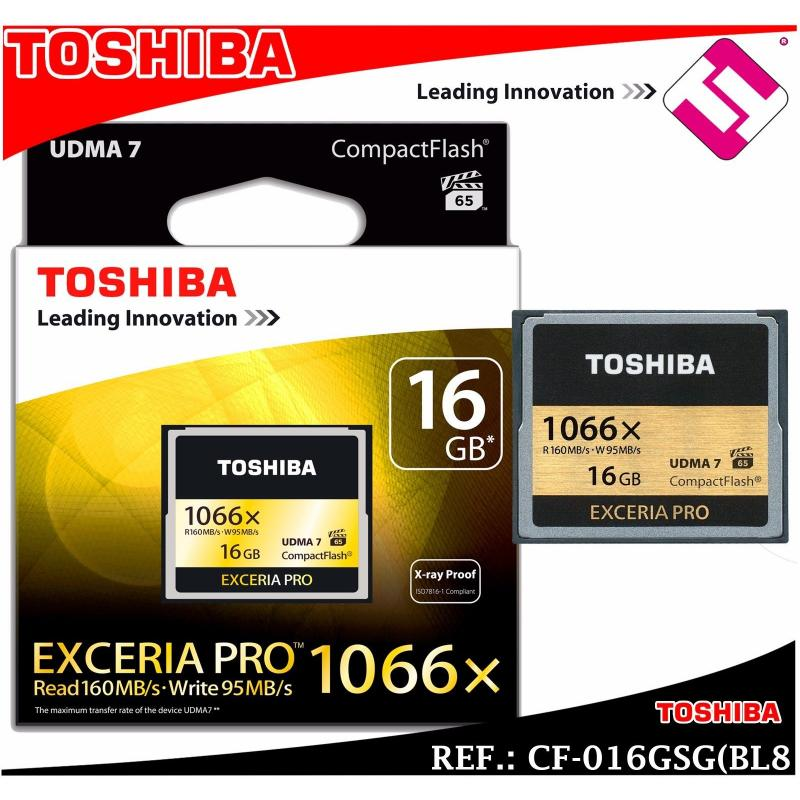 TARJETA TOSHIBA COMPACT FLASH EXCERIA PRO 16GB 1066X CF-016GSG(BL8 X RAY PROOF