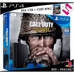 VIDEOCONSOLA SONY PS4 PLAYSTATION 4 1TB SLIM + JUEGO CALL OF DUTY WWII - WW2