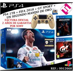 CONSOLA SONY PS4 PLAYSTATION 4 1TB SLIM FIFA 2018 UNCHARTED GT SPORT MANDO ORO