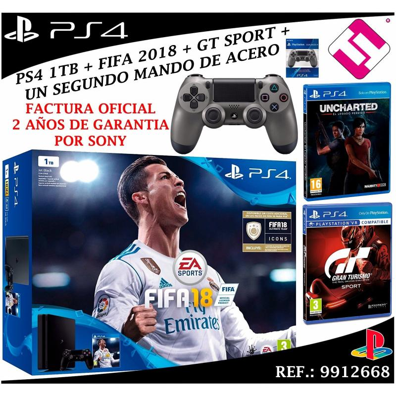 CONSOLA SONY PS4 PLAYSTATION 4 1TB SLIM FIFA 2018 UNCHARTED GT SPORT MANDO ACERO