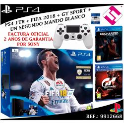 VIDEOCONSOLA PS4 PLAYSTATION 4 1TB SLIM FIFA 2018 UNCHARTED GTSPORT MANDO BLANCO