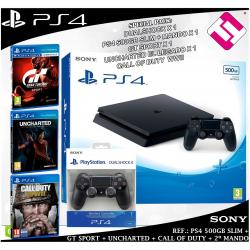 PS4 500GB SLIM +MANDO ADICIONAL UNCHARTED GTSPORT CALL OF DUTY WWII OFERTA FLASH
