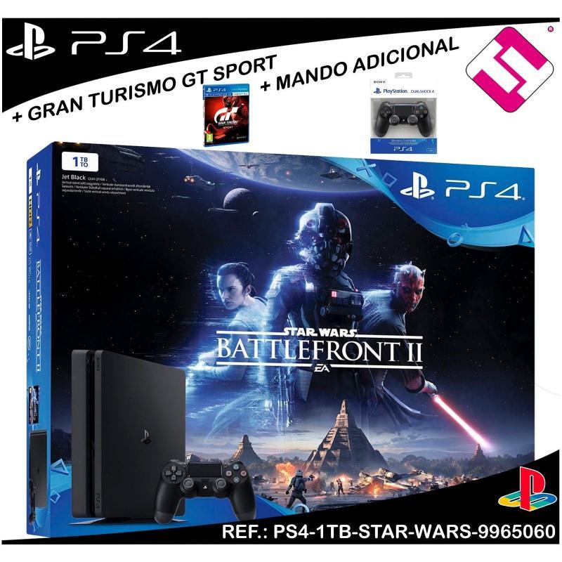 VIDEOCONSOLA PS4 PLAYSTATION 4 1TB STAR WARS BATTLEFRONT 2 + GT SPORT + MANDO