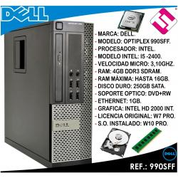 PC ORDENADOR OCASION DELL OPTIPLEX 990 SFF INTEL I5 2400 3,1GHZ 4GB 250GB DVD+RW