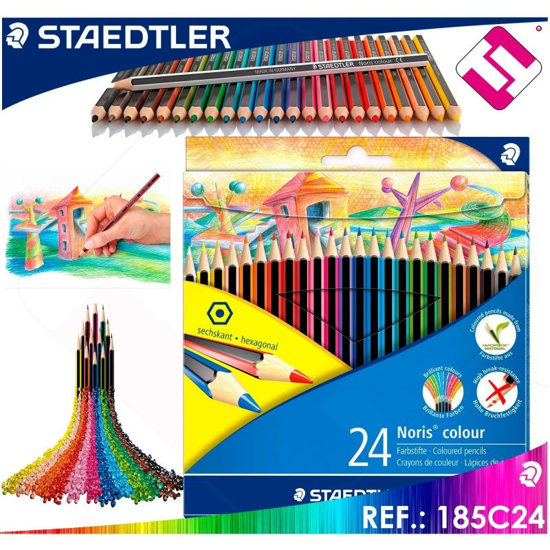 STAEDTLER 24 LAPICES PACK SURTIDOS COLORES NORIS MATERIAL WOPEX ECOLOGICO 185C24