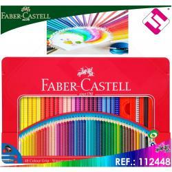 FABER CASTELL ESTUCHE METAL 48 LAPICES LAPIZ GRAFITO GRIP 2001 PINCEL SACAPUNTAS