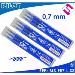 PILOT FRIXION COLOR AZUL X3 PACKS PAQUETE 3 UNIDADES RECAMBIOS BLS-FR7-L-S3
